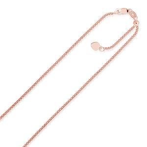 1.3mm 14K Rose Gold Adjustable Popcorn Chain