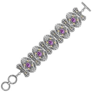 18K Yellow Gold and Sterling Silver Amethyst Embellished Adjustable Bracelet