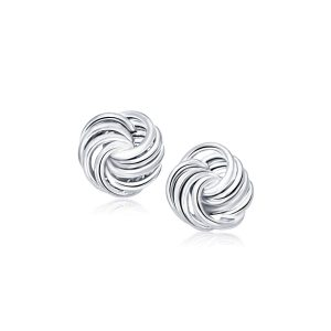 Rosetta Media Love Knot Stud Earrings in 14K White Gold