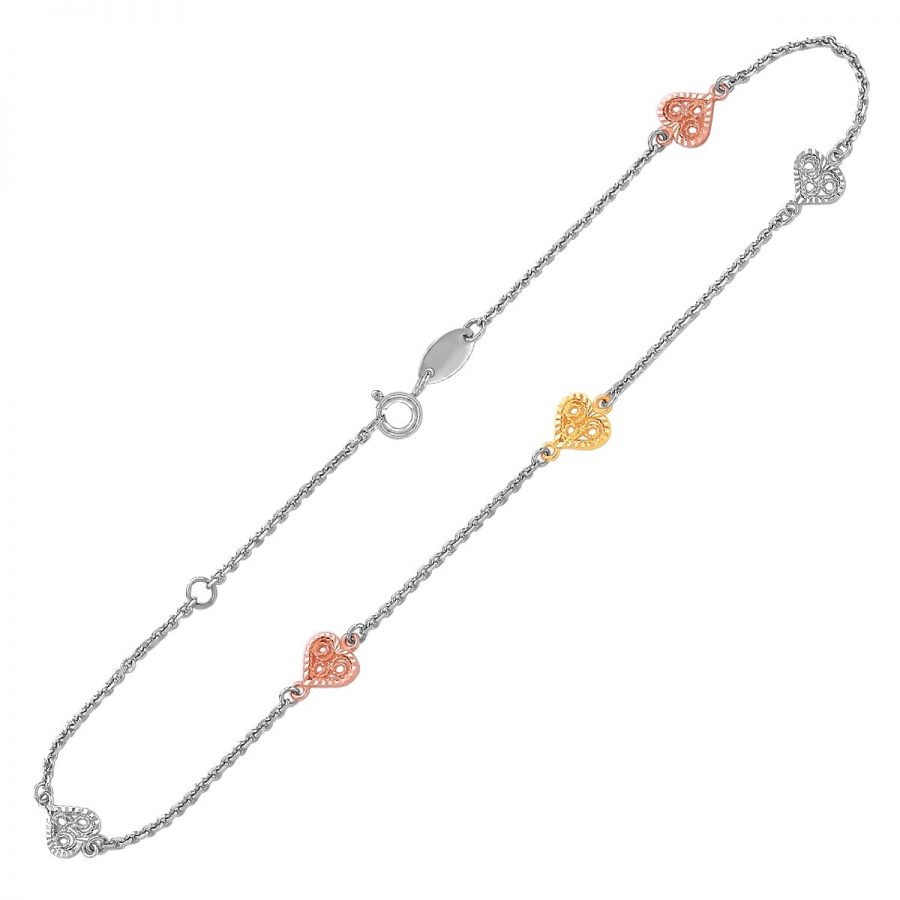 14K Yellow and Rose Gold and Sterling Silver Anklet with Filigree Heart Stations