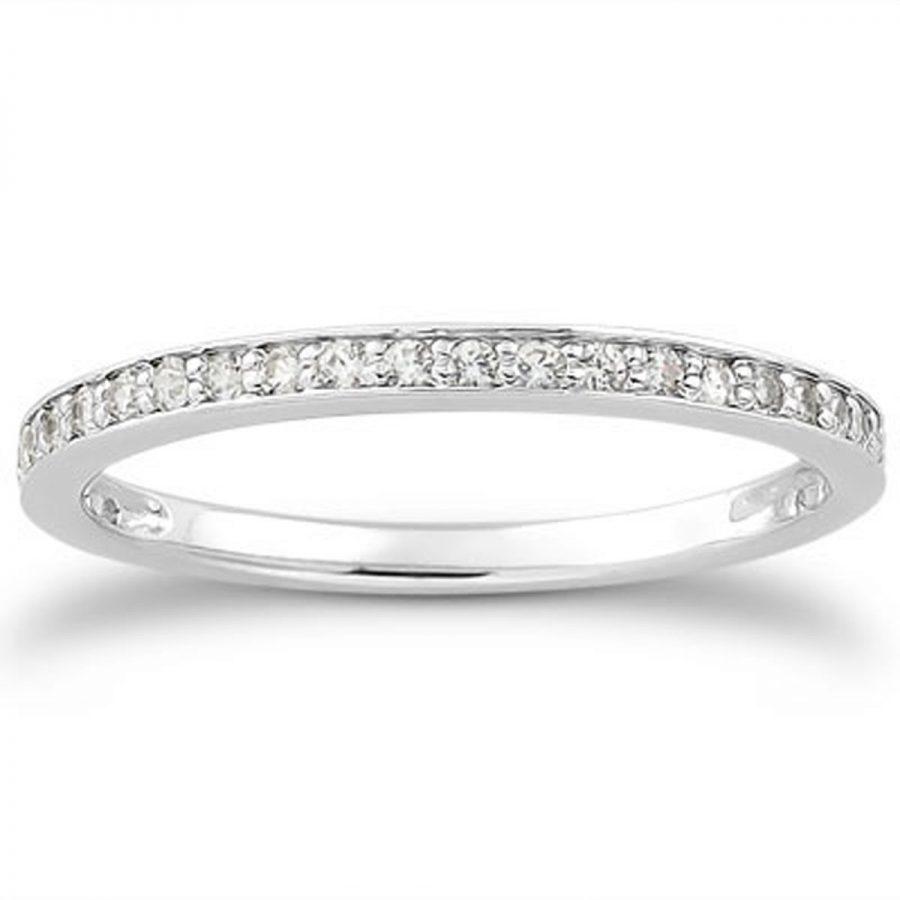 14K White Gold Micro-pave Diamond Wedding Ring Band Set 3/4 Around