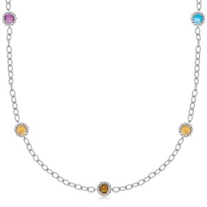 18K Yellow Gold and Sterling Silver 17'' Chain Necklace With Multi Gemstones