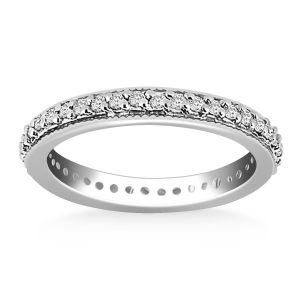 14K White Gold Pave Set Round Cut Diamond Eternity Ring with Milgrained Edging