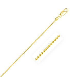 1.2mm 14K Yellow Gold Diamond-Cut Bead Chain