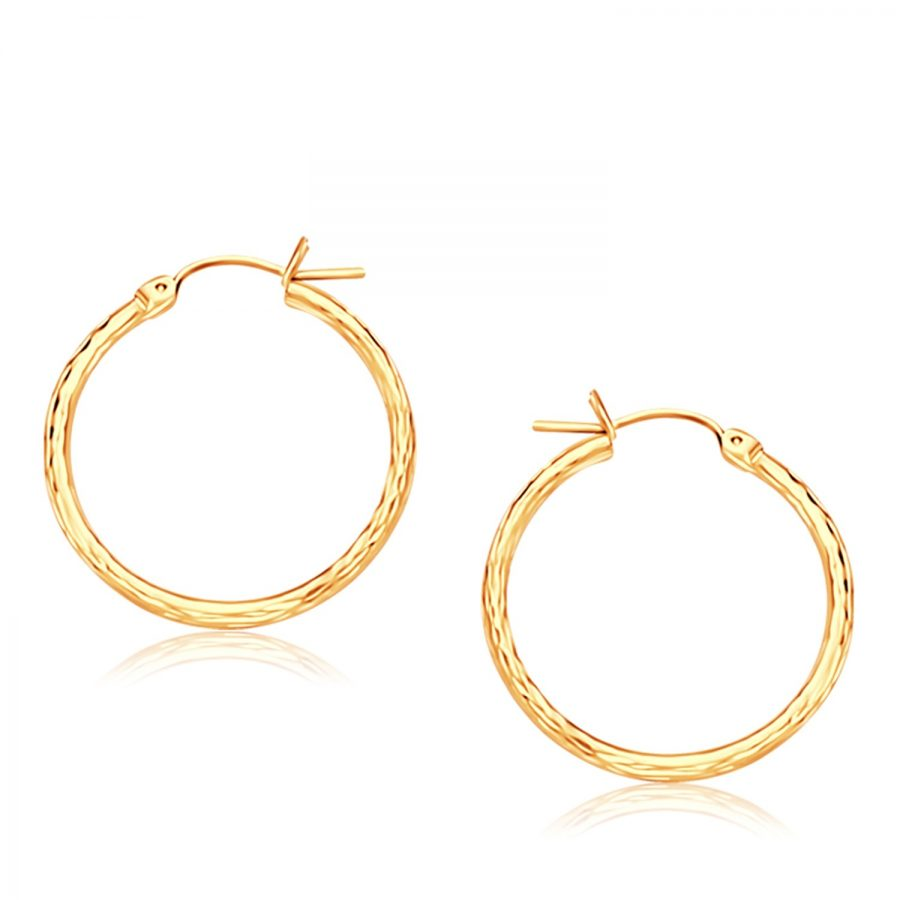 14K Yellow Gold Diamond Cut Hoop Earrings  (25mm Diameter)