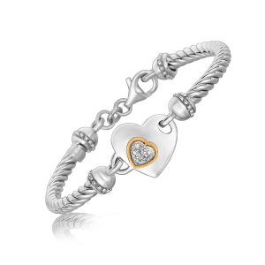 18K Yellow Gold and Sterling Silver Heart Design Bracelet with Diamonds