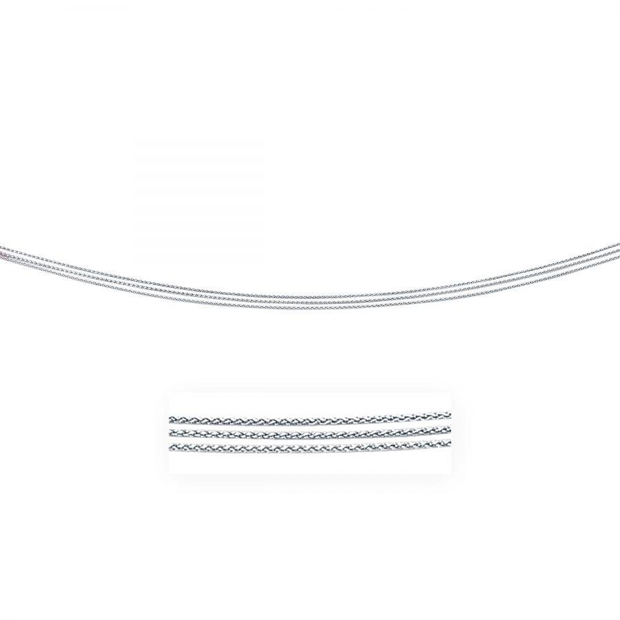 0.8mm 14K White Gold Three Strand Wheat Pendant Chain