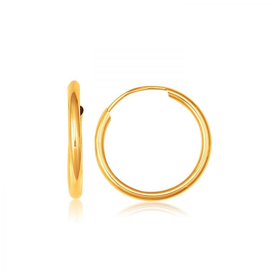 14K Yellow Gold Polished Endless Hoop Earrings (5/8 inch Diameter)
