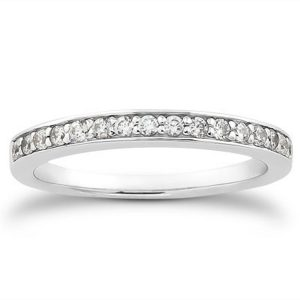 14K White Gold Pave Diamond Wedding Ring Band Set 1/2 Around