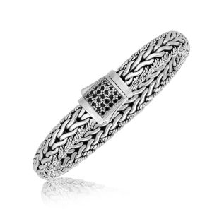 Sterling Silver Braided Black Sapphire Adorned Men's Bracelet