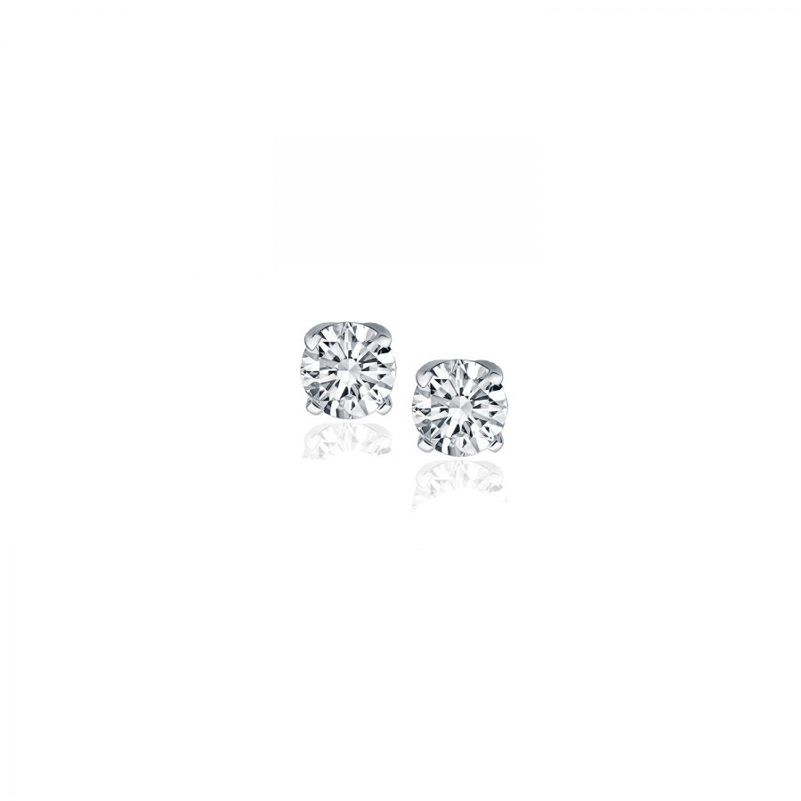 14K White Gold Diamond Four Prong Stud Earrings (1/4 c.t. tw.)