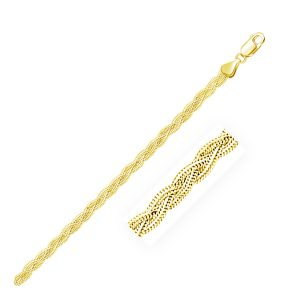 3.5mm 14K Yellow Gold Braided Bracelet