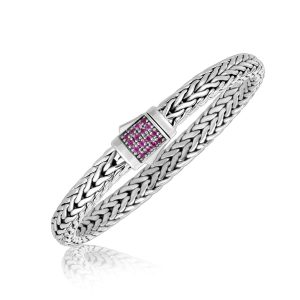 Sterling Silver Braided Style Men's Bracelet with Pink Sapphire Accents