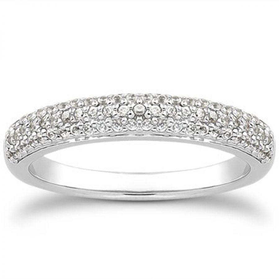14K White Gold Triple Multi-Row Micro- Pave Diamond Wedding Ring Band