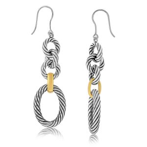 18K Yellow Gold and Sterling Silver Polished Dangling Earrings