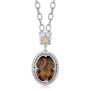 18K Yellow Gold and Sterling Silver Necklace with Oval Smokey Quartz Pendant