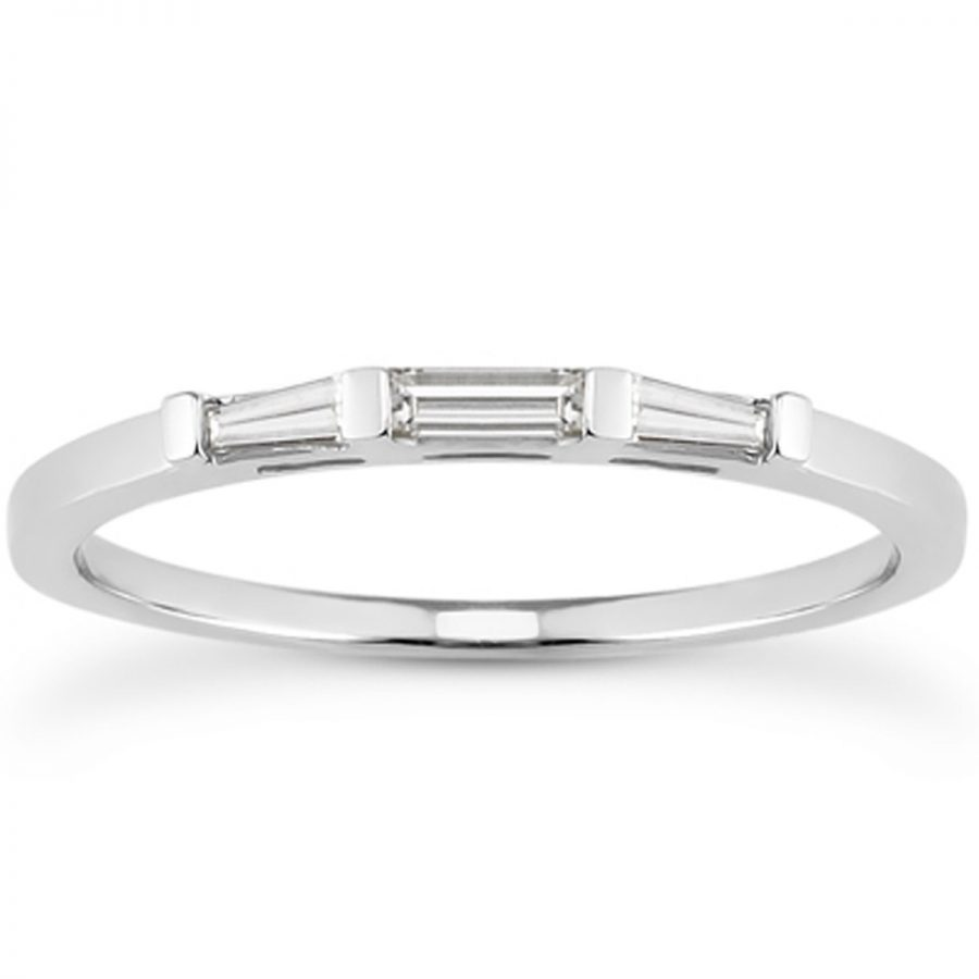 14K White Gold Thin Tapered Baguette Three Stone Diamond Wedding Band