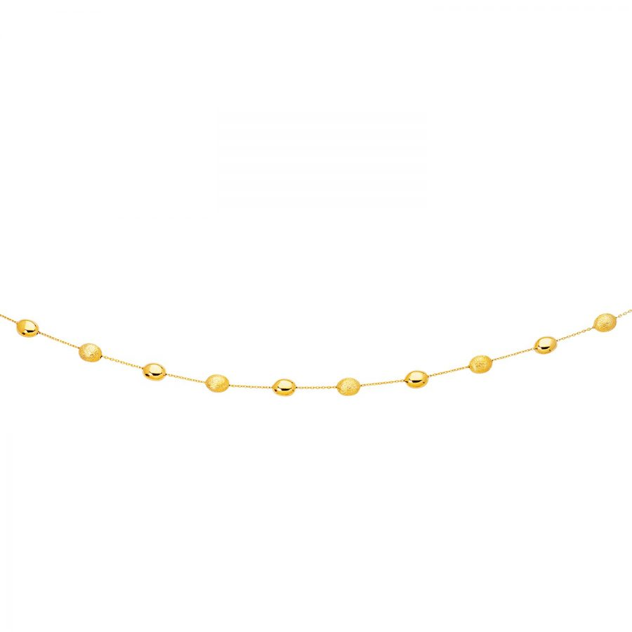 14K Yellow Gold Necklace with Polished and Textured Pebble Stations