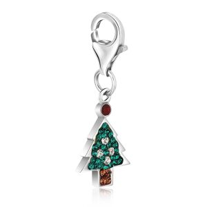 Sterling Silver Christmas Tree Charm with Multi Color Crystal Accents