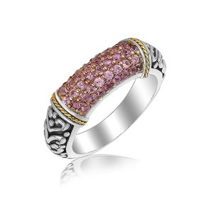 18K Yellow Gold and Sterling Silver Scrollwork Style Ring with Pink Amethysts