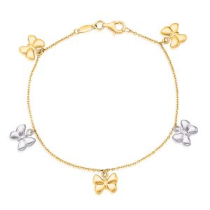 14K Two-Tone Gold Butterfly Charms Bracelet