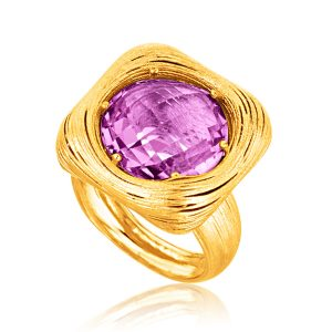 Italian Design 14K Yellow Gold Filament Ring with Round Amethyst