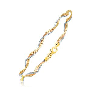 14K Two-Tone Gold Curly Motif Mirror Spring Bracelet