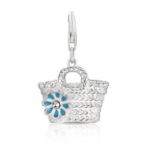 Sterling Silver Basket with Flower Crystal Accented Charm