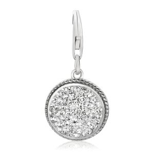 Sterling Silver Round Charm with Crystal Accents in White