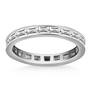 14K White Gold Eternity Ring with Baguette Diamonds