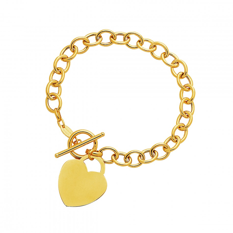 Toggle Bracelet with Heart Charm in 14K Yellow Gold   Mondier