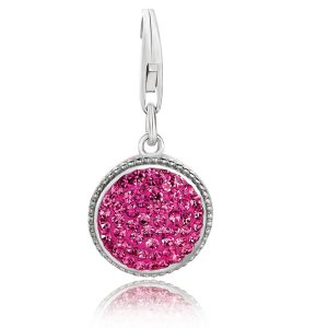 Sterling Silver Round Charm with Pink Tone Crystal Accents