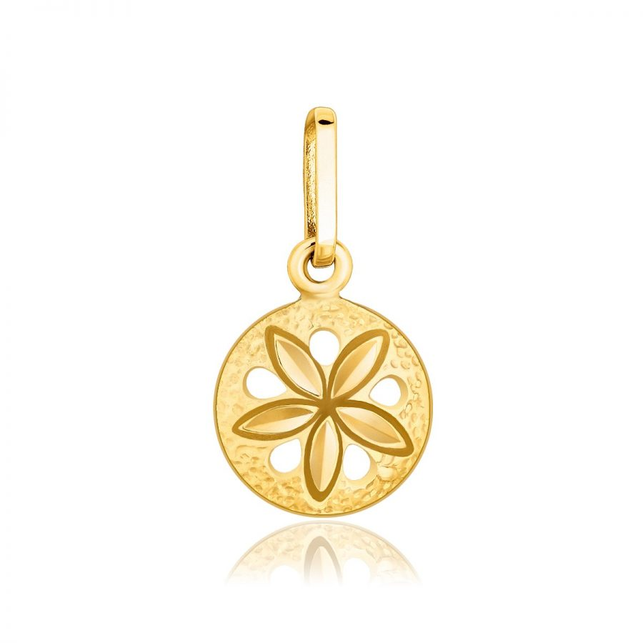 14K Yellow Gold Sea Life Small Sand Dollar Pendant