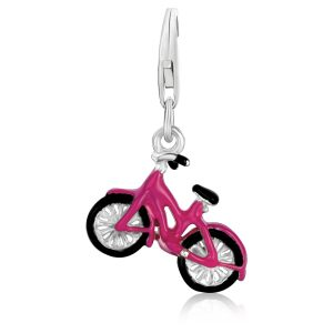 Sterling Silver Bicycle Charm with Black and Pink Enamel Coating