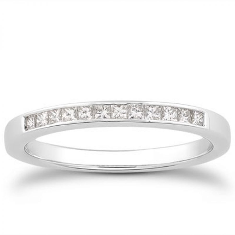 14K White Gold Channel Set Princess Diamond Wedding Ring Band