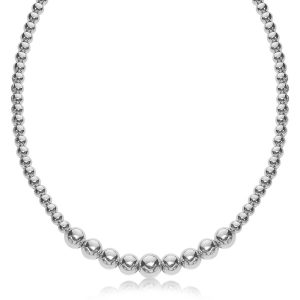 Sterling Silver Graduated Style Bead Necklace with Rhodium Plating