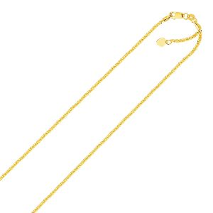 1.5mm 14K Yellow Gold Adjustable Sparkle Chain