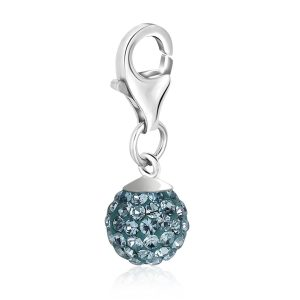 Sterling Silver Round March Birthstone Charm with Blue Tone Crystal Accents