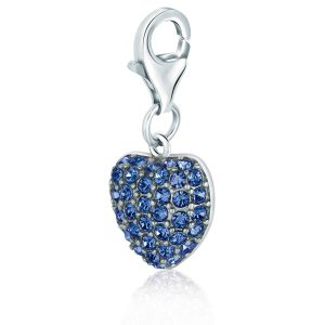 Sterling Silver Blue Tone Crystal Encrusted Charm