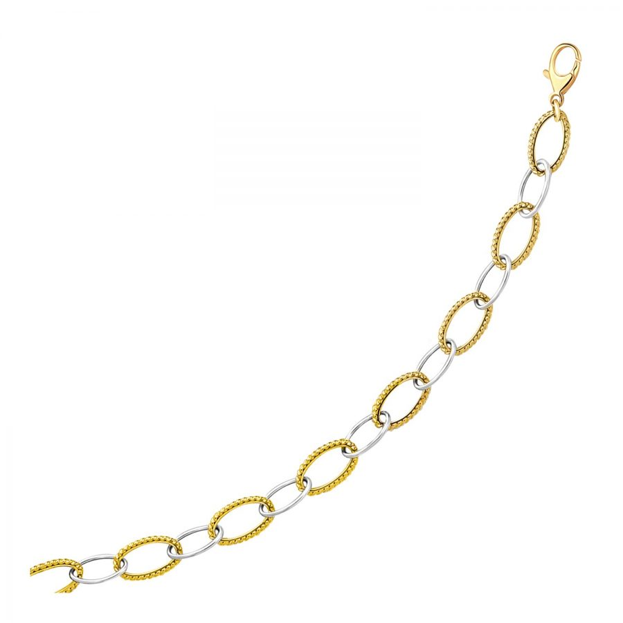 14K Two-Tone Gold Fashion Bracelet with Cable and Polished Oval Links