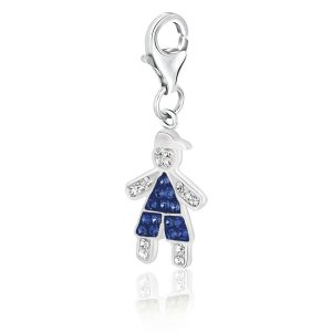 Sterling Silver September Birthstone Multi Tone Crystal Encrusted Boy Charm