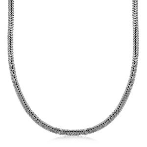 Oxidized Sterling Silver Men's Necklace in a Foxtail Style