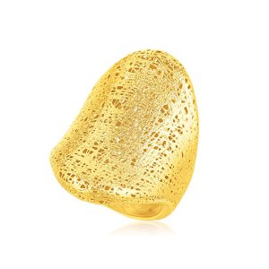Italian Design 14K Yellow Gold Woven Bold Ring
