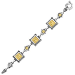 18K Yellow Gold and Sterling Silver Bracelet with Relief Style Square Links