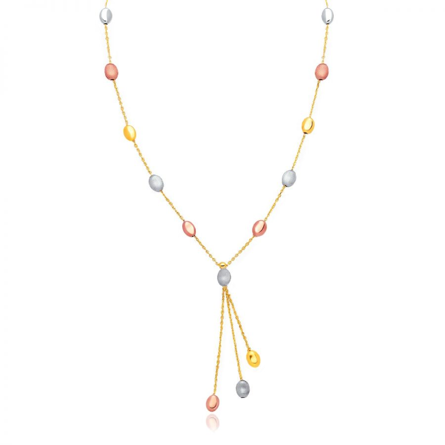 14K Tri-Color Gold Pebble Station Necklace with Triple Drop
