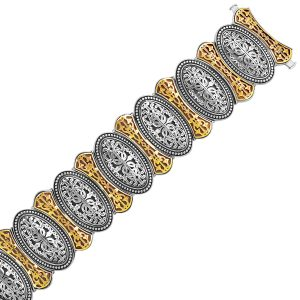 18K Yellow Gold and Sterling Silver Bracelet in an Oval Overlapping Motif