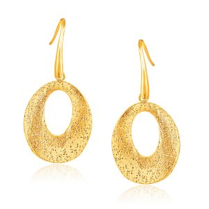 Italian Design 14K Yellow Gold Woven French Wire Oval Drop Earrings