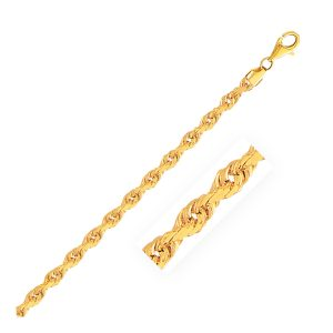 4.0mm 14K Yellow Gold Solid Diamond Cut Rope Chain