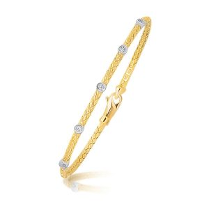 14K Two Tone Gold Diamond Accent Station Basket Weave Bracelet
