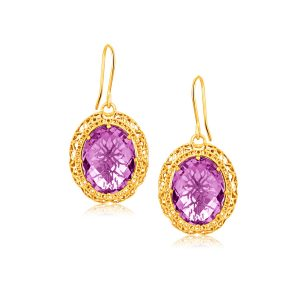 Italian Design 14K Yellow Gold Lace Earrings with Oval Amethyst